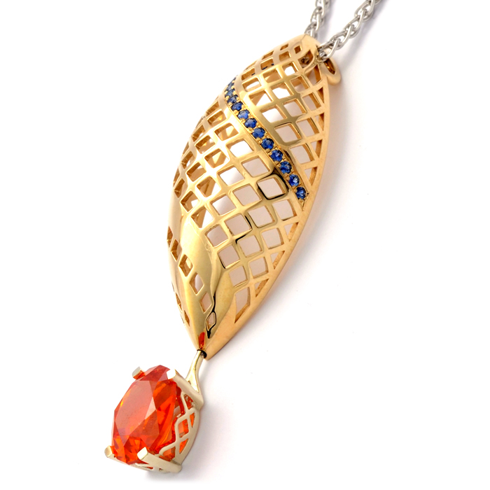 9ct yellow and white gold pendant with zincite and sapphire