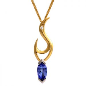 18ct yellow and white gold pendant with marquise tanzanite and diamond