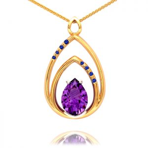 9ct yellow and white gold pendant with amethyst and blue sapphire