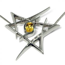 18ct white gold pendant with yellow sapphire and diamonds