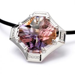 18ct white gold pendant with ametrine and diamonds