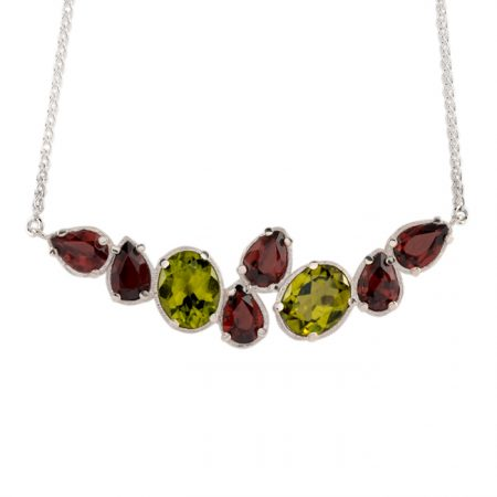sterling silver pendant with peridot and red garnet