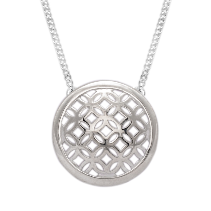 Sterling Silver Domed Circle Pendant