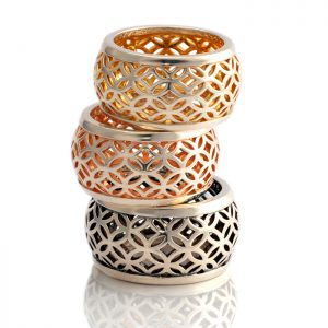 silver domed lattice ring