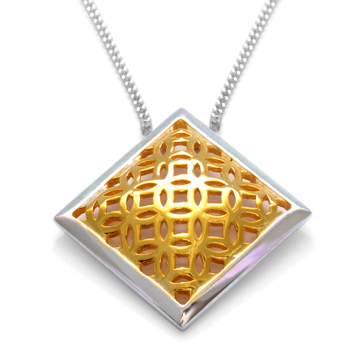 sterling silver square pendant with gold vermeil