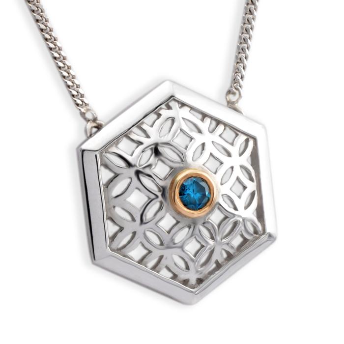 sterling silver haxagon pendant with blue diamond