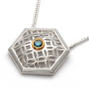sterling silver haxagon pendant with blue diamond