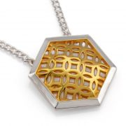 sterling silver hexagon pendant