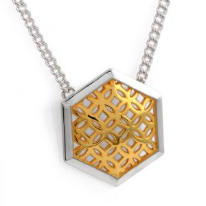 sterling silver domed hexagon pendant