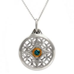 sterling silver circle pendant with blue diamond