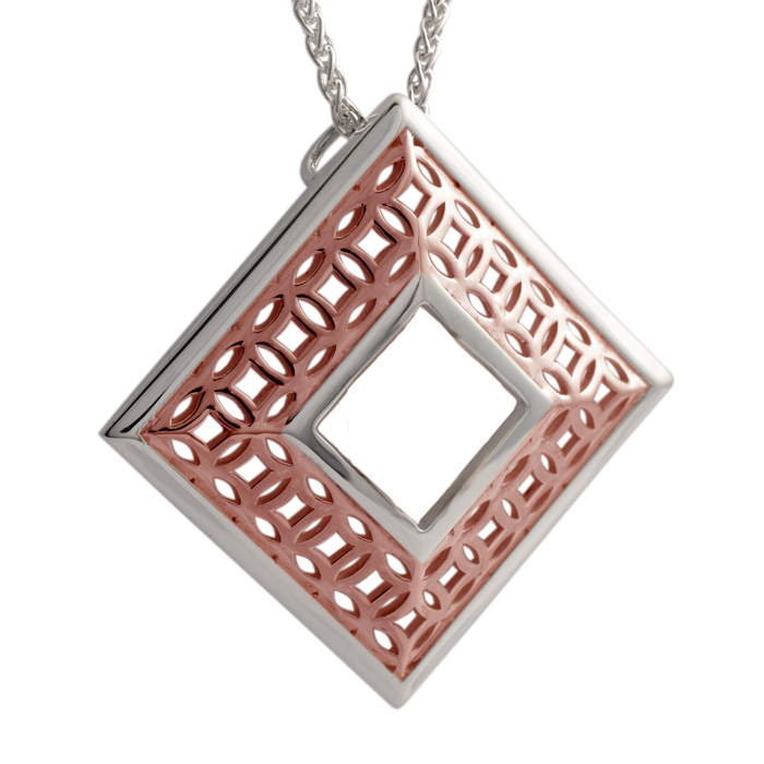 sterling silver square pendant with rose gold vermeil