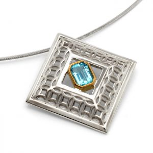 sterling silver square pendant with blue topaz