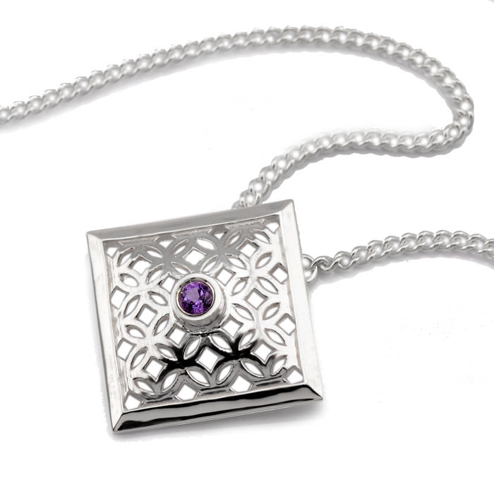 sterling silver square pendant with amethyst