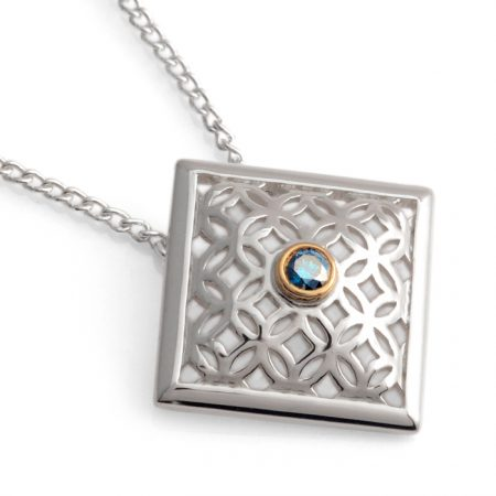 sterling silver square pendant with blue diamond