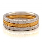 silver hammered 5 ring set with yellow and rose gold vermeil
