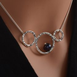 sterling silver pendant with blue freshwater pearl