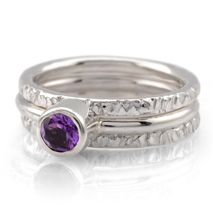 Sierra Stacking Ring Set With Amethyst Lauren Elizabeth