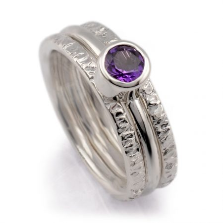 hammer 3 ring set with amethyst