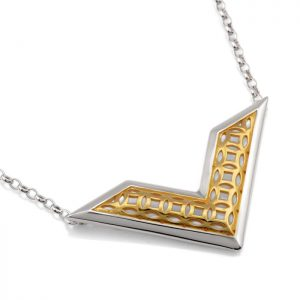 sterling silver chevron pendant with gold vermeil