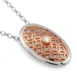 sterling silver oval pendant with cubic zirconia