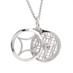 sterling silver circle pendant with cubic zirconia