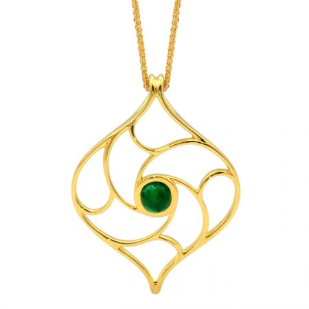 18ct yellow gold pendant with emerald