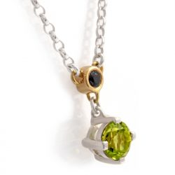 sterling silver and 18ct gold pendant with peridot and black sapphire