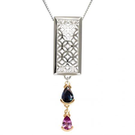 sterling silver rectangle pendant with sapphires