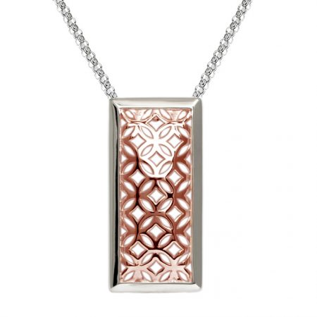sterling silver rectangle pendant with rose gold vermeil