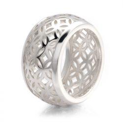 silver domed lattice ring