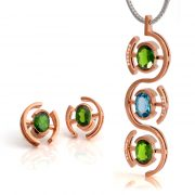 9ct rose gold pendant with green chrome diopside, blue topaz and diamonds