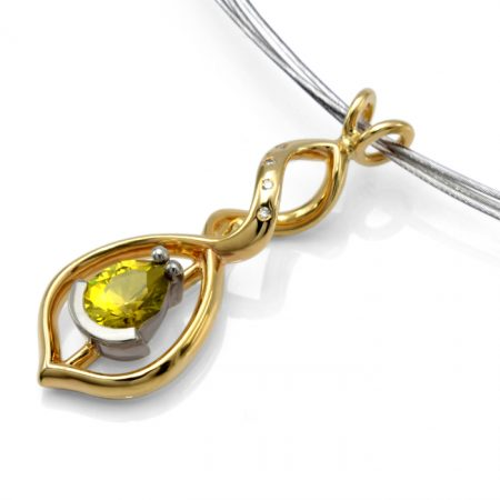 9ct yellow and white gold pendant with mali garnet and diamonds
