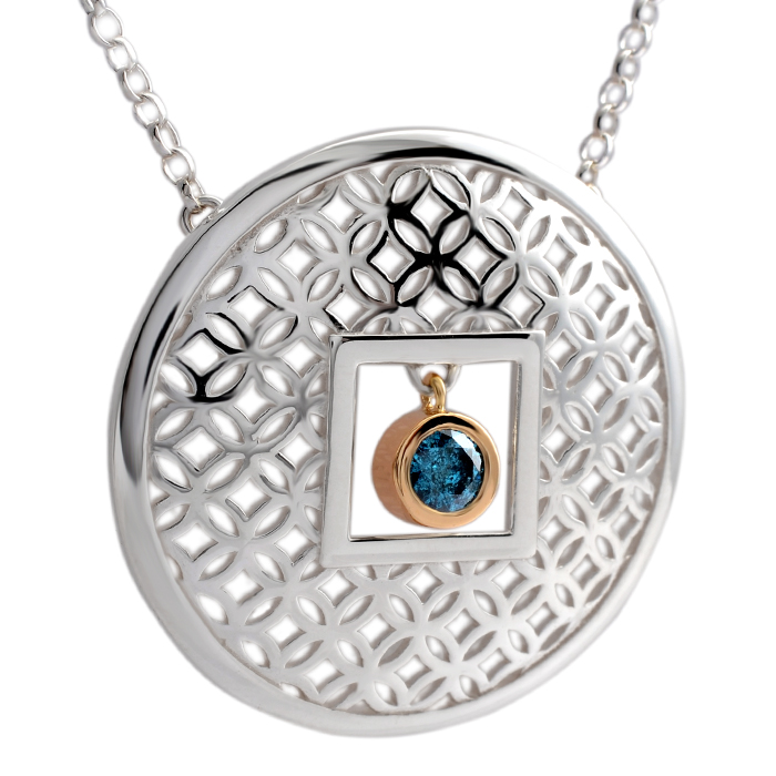 sterling silver and 18ct yellow gold circle pendant with blue diamond
