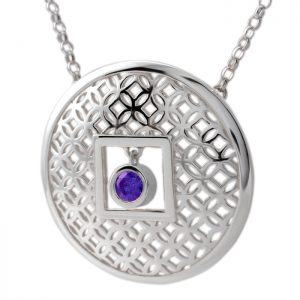 sterling silver circle pendant with amethyst
