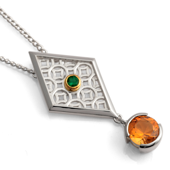 sterling silver pendant with 18ct yellow gold accent, emerald and citrine