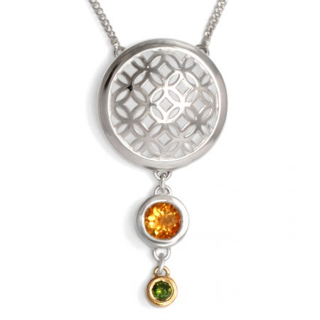 sterling silver domed circle pendant with citrine and green diamond