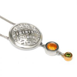 sterling silver circle pendant with citrine and green diamond