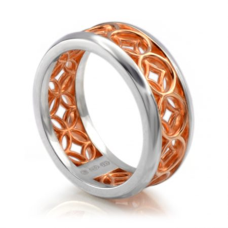 silver lattice ring with rose gold vermeil