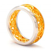 silver lattice ring with gold vermeil