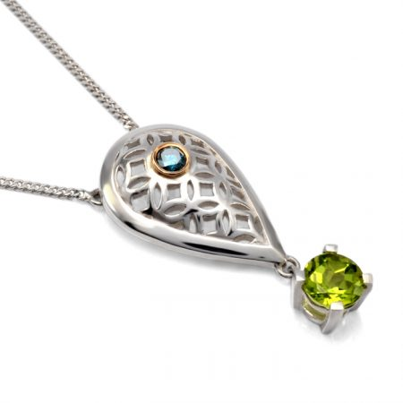 sterling silver peardrop pendant with peridot and blue diamond