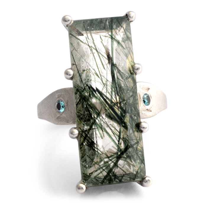 silver ring with actinolite and blue diamonds