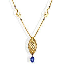 18ct yellow gold eternal flame pendant with tanzanite and diamonds