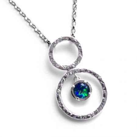 sterling silver pendant with circles and opal triplet
